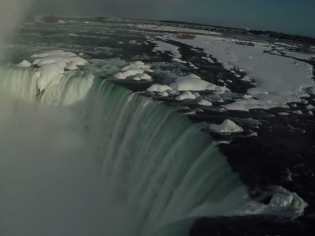 This aerial footage of frozen Niagara Falls is what drones were made for.