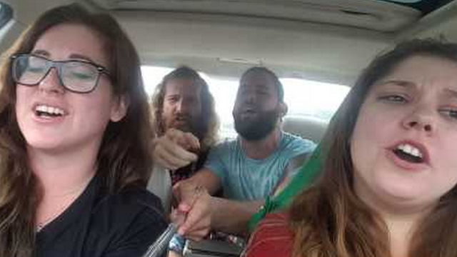 Goofballs' car-aoke video on a selfie stick has a very scary ending.