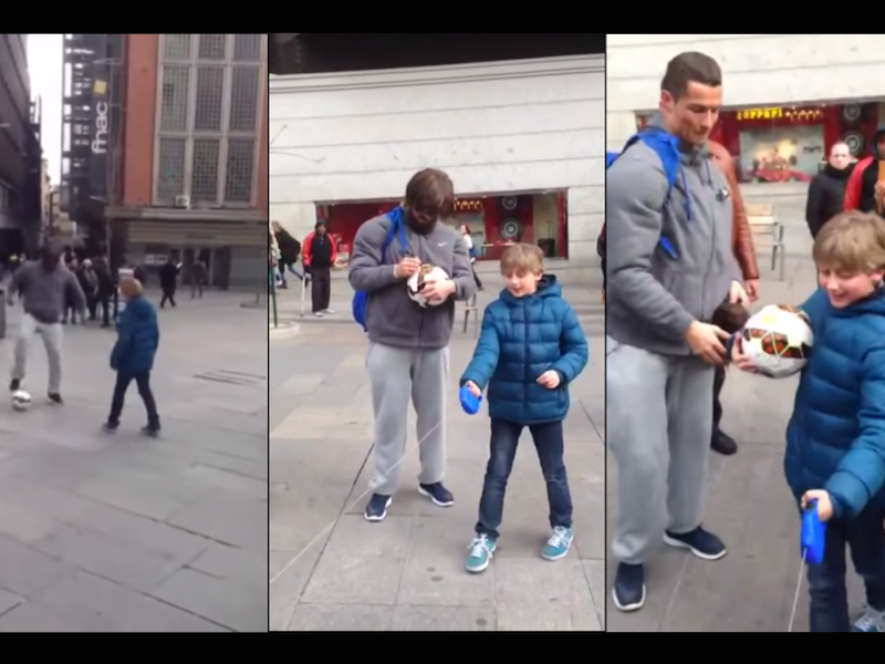 World's biggest soccer star surprises a kid after playing with him in disguise.