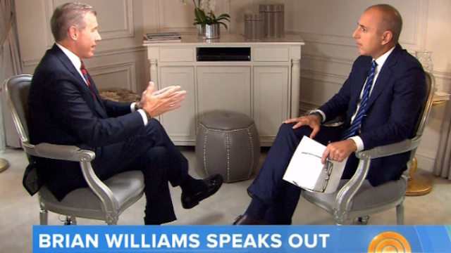 Brian Williams does his first interview about being a liar-liar-pants-on-fire with Matt Lauer.