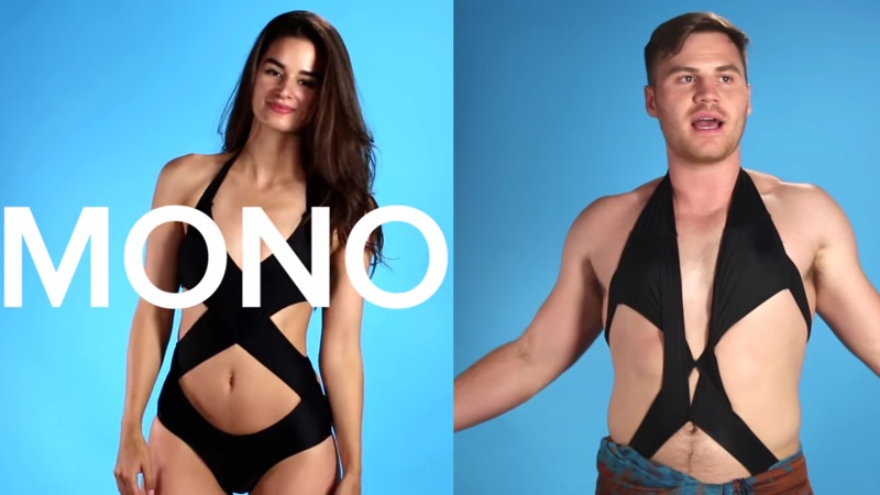 Dudes try on women's bathing suits and immediately develop sympathy.