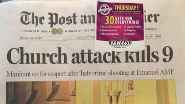 Charleston newspaper puts worst possible ad on their front page today.