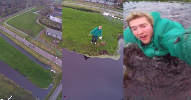 This guy's last-second rescue of his drone from crashing into a pond is kind of thrilling.