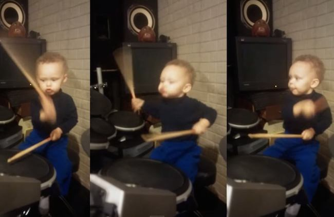 "There are toddlers who ""play the drums,"" and then there's this 2-year-old headbanger."