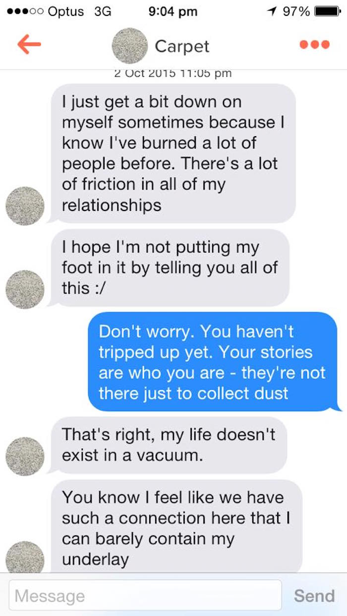 someone matched with a carpet on tinder and the puns will floor you