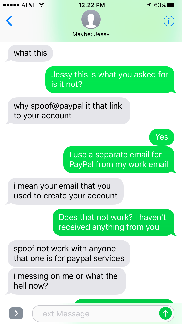Clueless scammer can't figure out he's being trolled.