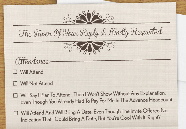 A wedding RSVP card that covers every horrible wedding guest that could possibly be invited.