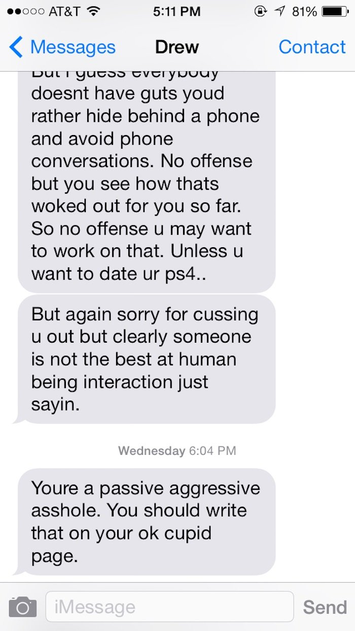 Guy rejected on OKCupid goes on insane rant that lasts for hours.