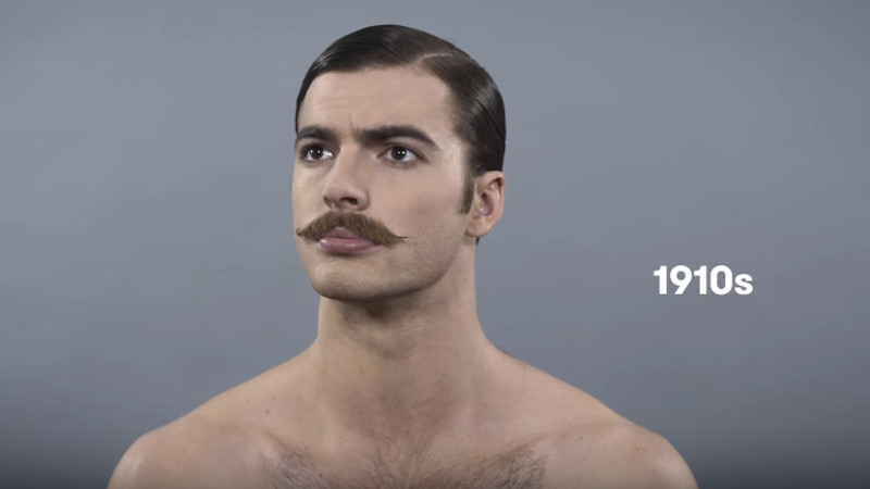 The '100 Years of Beauty' series finally noticed men and what grows on their faces.