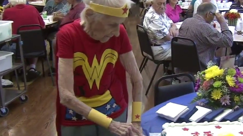 Watch a 103-year-old celebrate her birthday as Wonder Woman and never slow down.