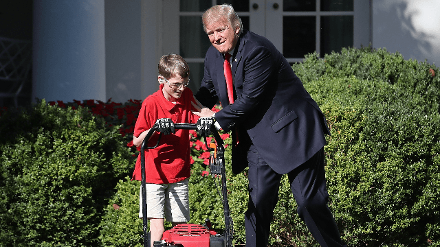 Trump Watching 11 Year Old Frank Mow The White House Lawn Is