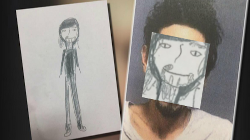 A little girl drew a scruffy stick figure of a burglar for police. Luckily he looked like that.