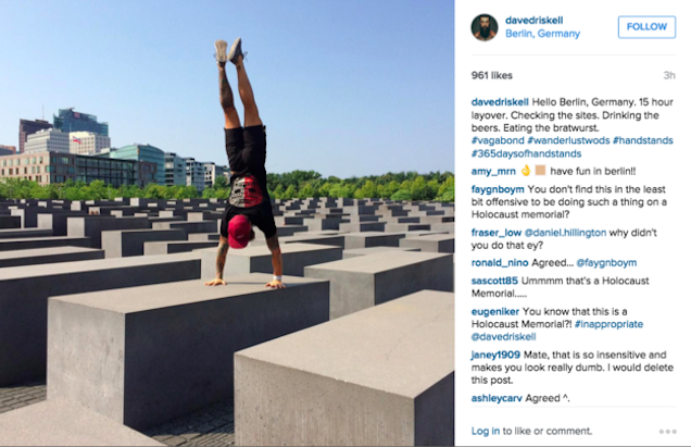 How could taking a selfie at a Holocaust memorial get any worse? Crossfit.