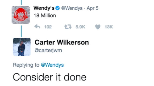 Teen who needs 18 million retweets for a year of free nuggets at Wendy's may break Twitter record.