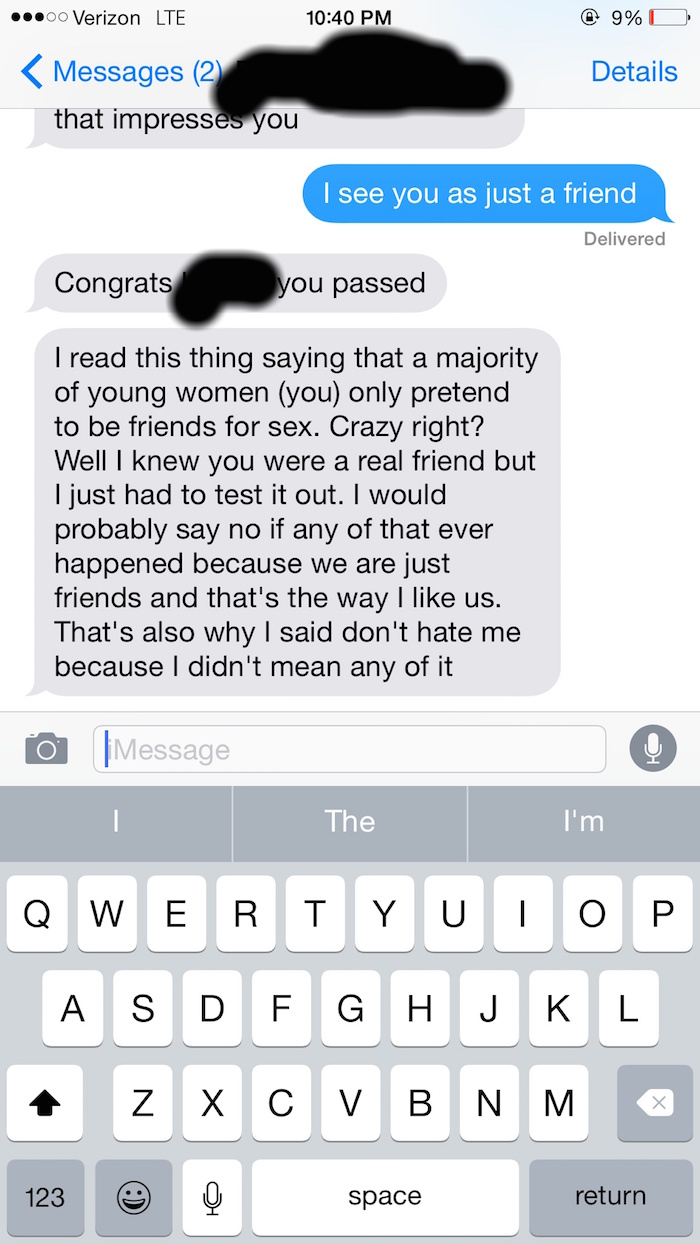 A woman rejected her sext-happy male friend, and he responded with hilarious back-pedaling.