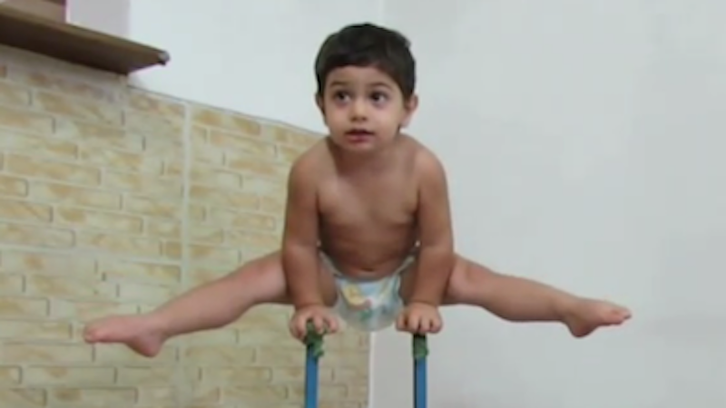 This 2-year-old gymnast will blow your mind.
