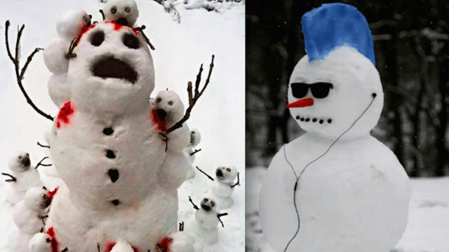 22 ideas for unconventional, hilarious, and shocking snowmen that put Frosty to shame.