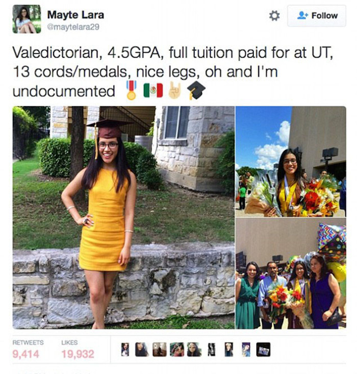 High school valedictorian Mayte Lara unwisely tweets that she's an undocumented immigrant, faces trolls.