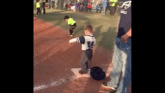 This 4-year-old dancing on first base is a reminder to celebrate the little things in life.