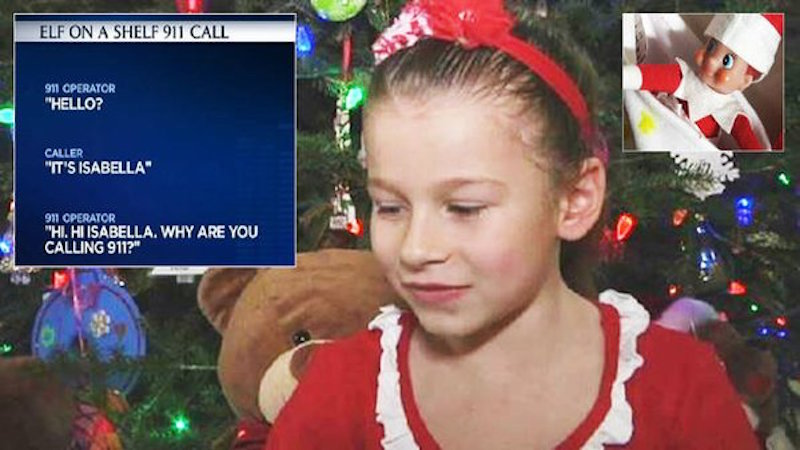 Panicked little girl calls 911 after accidentally moving the Elf on the Shelf.