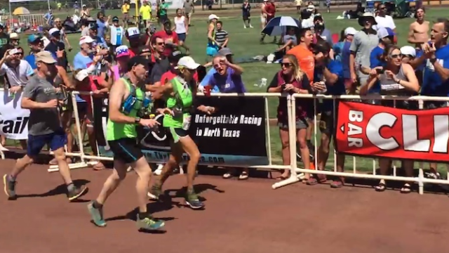 71-year-old woman has photo finish on 100-mile race.