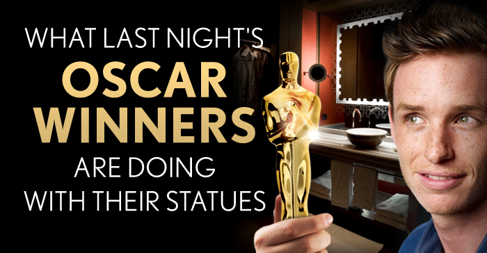 What last night's Oscar winners are doing with their statues.
