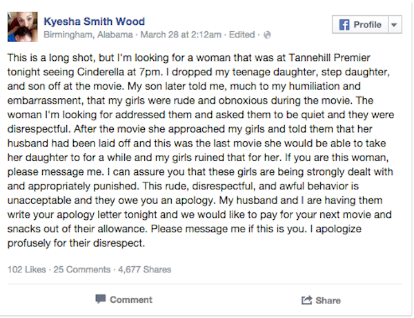 Mom Facebook shames her kids for bad behavior at the movies, finds the woman they wronged.