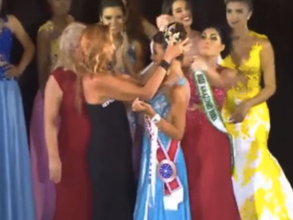 A Brazilian beauty pageant runner-up stole the crown right off the winner's head.