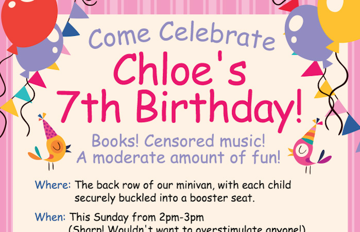 A child's birthday party invitation from the most overprotective parents in the world.