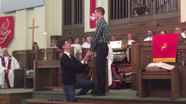 A gay couple got engaged in front of their church because they can't get married there.