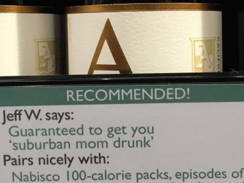 A guy snuck in custom-made recommendations at his local wine store, and they're perfect.