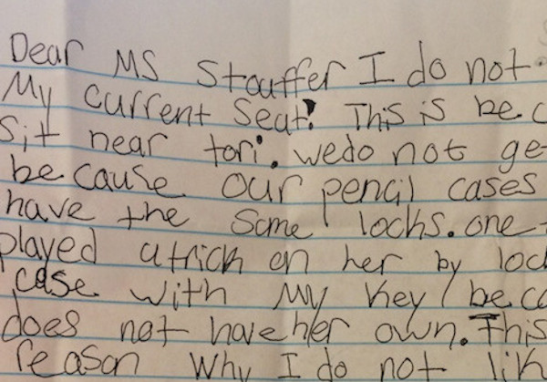 A teacher received this incredibly persuasive note from a student wanting to sit near his crush.