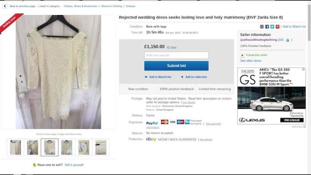 A very sad, never-used wedding dress just sold itself on eBay.
