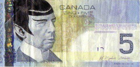 Canadians literally pay tribute to Leonard Nimoy by 'Spocking' their $5 bills.