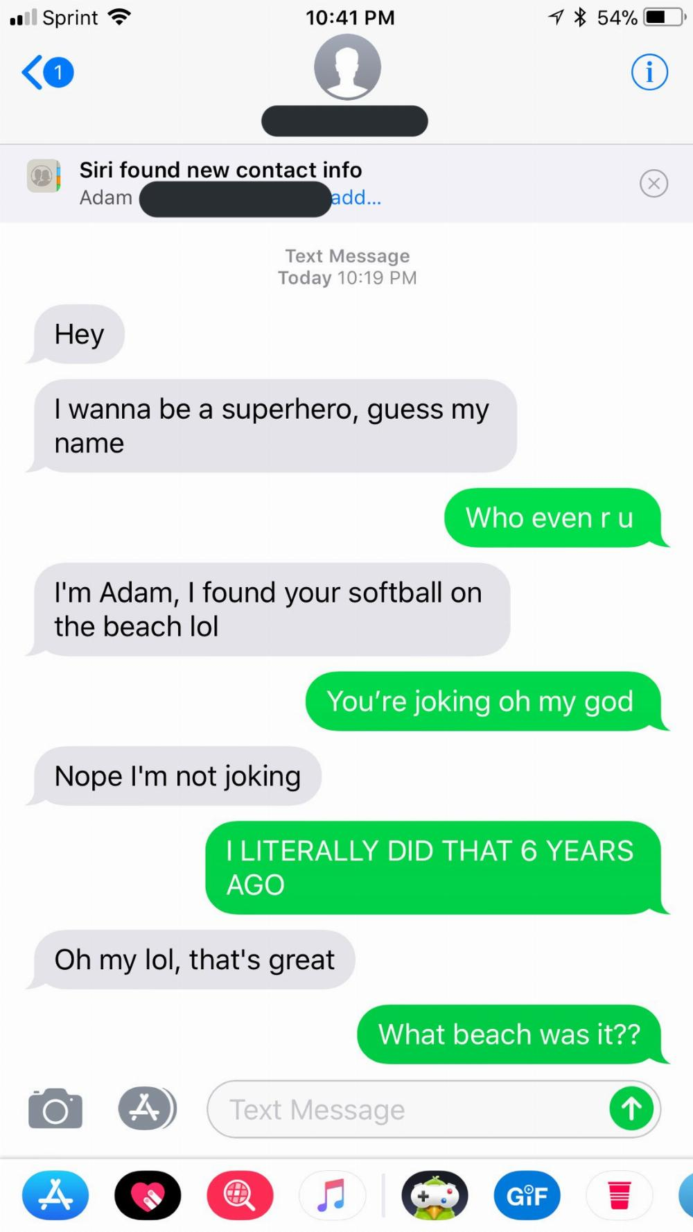 Woman throws softball with her number into ocean, receives text six years later.