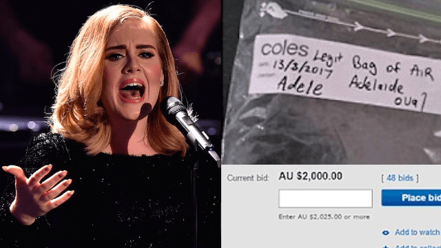Someone is selling a bag of air that Adele breathed for $2,000 on Ebay. Get yours now!