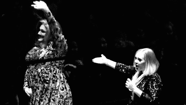Adele invited her drag queen impersonator onstage and the resemblance was eerie.