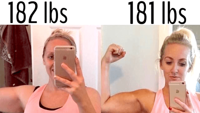 Woman posts dramatic before-and-after pics of one pound loss to prove that weight is meaningless.