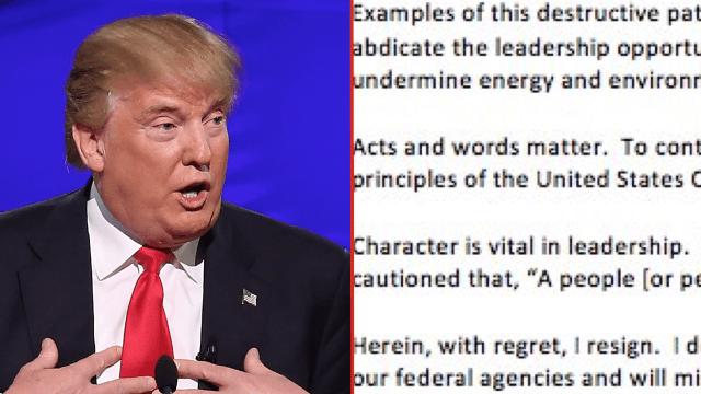 Advisor sends Trump clever hidden message in merciless letter of resignation.