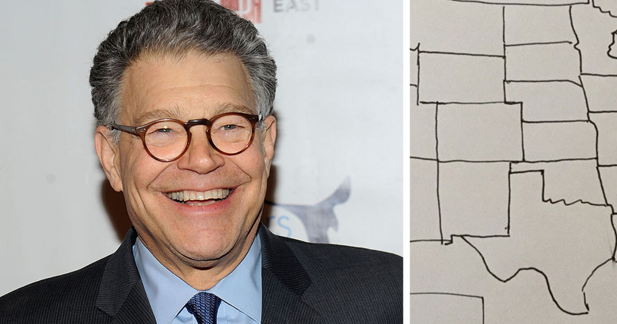 Al Franken Boasts One More Thing Hes Great At By Drawing A - Al franken draws a map of us