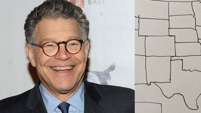 Al Franken boasts one more thing he's great at by drawing a perfect map of the USA by hand for Seth MacFarlane.