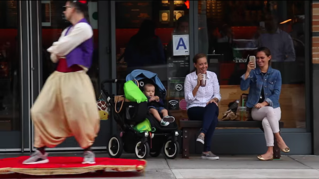 The best part of a working 'Aladdin' flying carpet is watching jaded New Yorkers freak out.