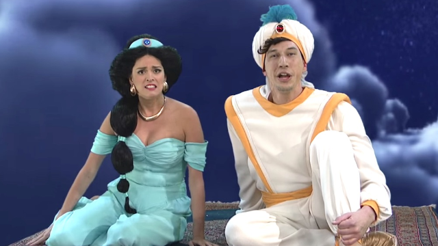 Aladdin and Jasmine ride a carpet through a whole new, way-too-realistic world on 'SNL.'