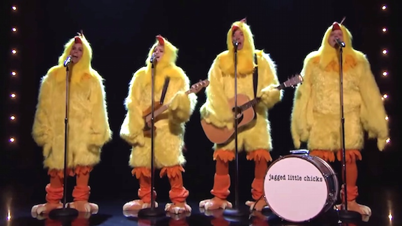 Alanis Morisette, Meghan Trainor, and Jimmy Fallon sang 'Ironic' as chickens, which is ironic.