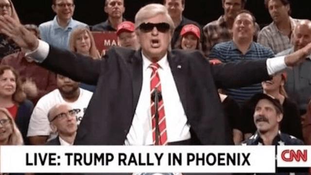 Alec Baldwin returns to 'SNL' to skewer Trump's deranged Phoenix rally.
