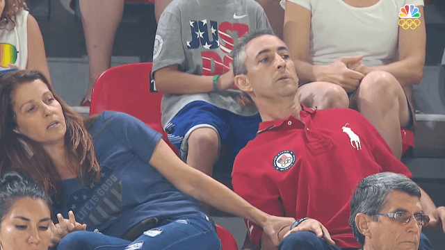 US gymnast Aly Raisman's parents go viral for their white-knuckle reaction to her routine.