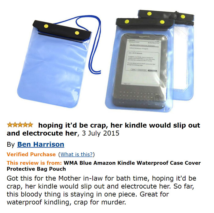 """Got this for the Mother-in-law for bath time, hoping it'd be crap, he kindle would slip out and electrocute her."""