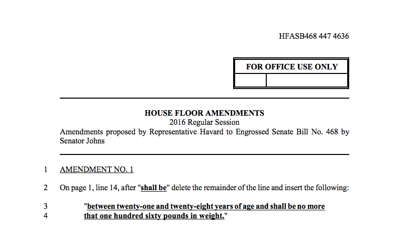 Louisiana state rep tries to sneak in an amendment to limit how much strippers can weigh.