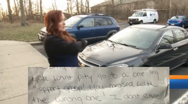 Amputee politely asks car not to park in her spot, gets a response worse than a YouTube comment.