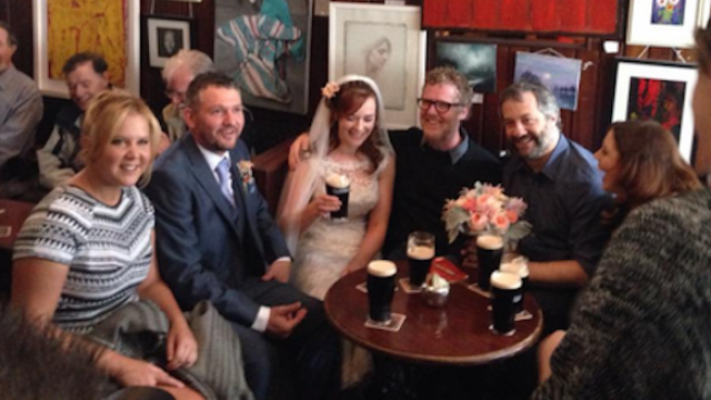 Amy Schumer, Judd Apatow, and Glen Hansard walk into a bar, and of course it goes viral.